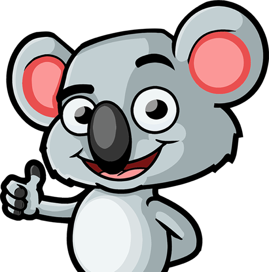 Koala Mascot gives thumbs up